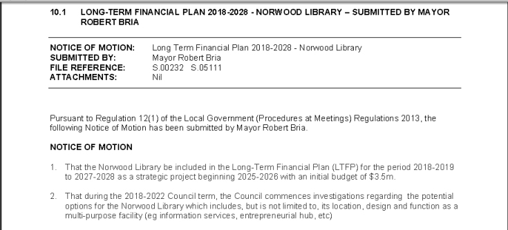 Motion to restore development funding for Norwood Public Library
