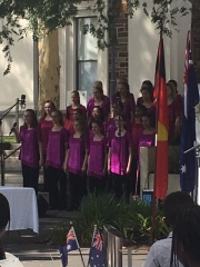 Australian Girls' Choir presenting one of 3 songs, 'I Still Call Australia Home.'