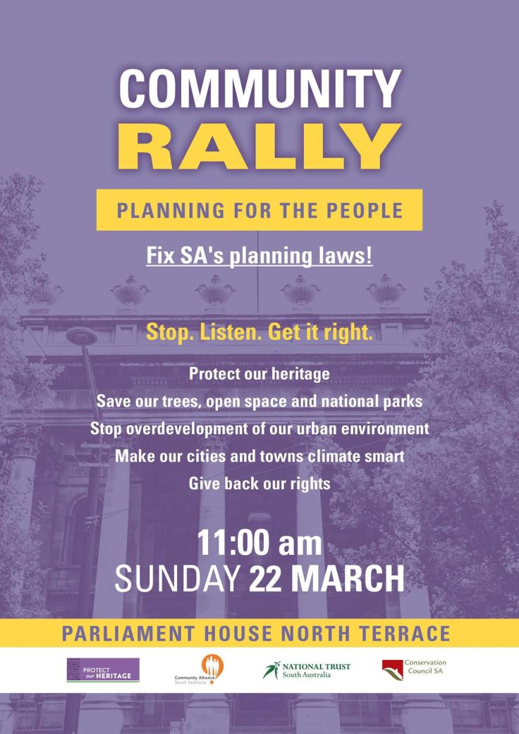 Community rally- Planning for the People 22 March 2020